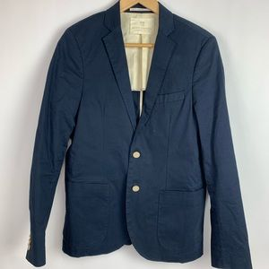 Scotch and Soda Blue Cotton 2 Button Sports Coat